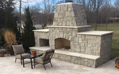 Outdoor Stone Fireplace & Travertine
